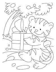 cat attend birthday party gift coloring pages