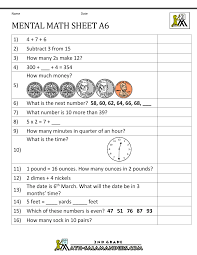 2nd grade mental math worksheets