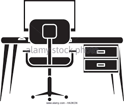 Armchair Desk Silhouette Desk Office Work Place Stock Photos U0026 Silhouette Desk