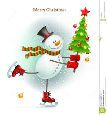 snowman christmas tree smiling snowman with christmas tree stock photography image