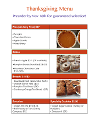 thanksgiving preorder menu updated violette gluten free