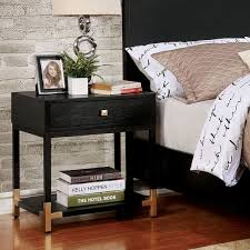 Contemporary Nightstand Ls Furniture Of America Hutton Contemporary Black Gold 1 Drawer