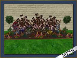 Garden With Trellis Second Life Marketplace Flower Garden With Trellis Fence In Red