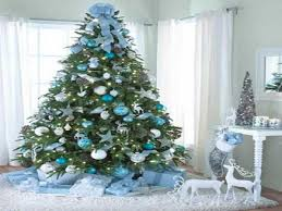 White Christmas Tree With Blue Decorations Blue Christmas Tree Decorations Christmas Lights Decoration