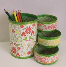 desk organizer made from recycled cans projects pinterest