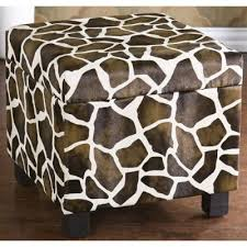Animal Print Storage Ottoman Giraffe Faux Leather Storage Ottoman Foot Stool Bench Animal Print