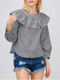ruffle blouses gingham check ruffle blouse white and black blouses s zaful