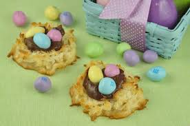 coconut easter eggs coconut macaroon nutella easter nests wishes and dishes