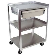 3 shelf stainless steel carts with drawers