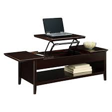 mahogany rectangle lift top coffee table with single tier rack for