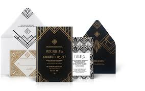 deco wedding invitations gershwin luxury wedding invitations the wedding collection