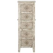 Kirklands Jewelry Armoire Kianna 5 Drawer Jewelry Armoire With Mirror In Silver Off White