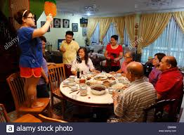 a typical new year family gathering dinner in kuching