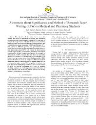 awareness about significance and method of research paper writing