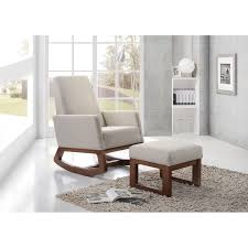 Upholstered Rocking Chair With Ottoman Inspired By Mid Century Modern Design The Yashiya Rocking Chair
