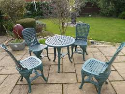 Pvc Outdoor Chairs Antique Style Ornate Bistro Garden Set Round Table 4 Chairs Pvc