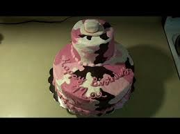 pink buttercream camouflage birthday cake with cowboy hat youtube