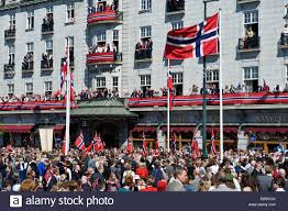 Flag Of Oslo National Day Celebration In Oslo Norway People Watching The