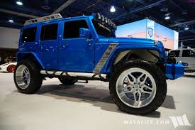blue jeep 2017 sema truck hero n fab blue jeep jk wrangler unlimited