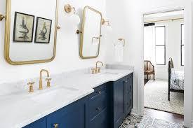 Dual Illuminated Vanity Mirrors Blue Dual Sink Vanity With Carrera Marble Countertop