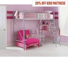 buy home sit u0027n sleep metal high sleeper futon bed frame pink at