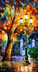 romantic aura palette knife landscape tree oil painting on canvas by leonid afremov great reads