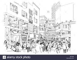 sketch of crowd of people in shopping street stock photo royalty