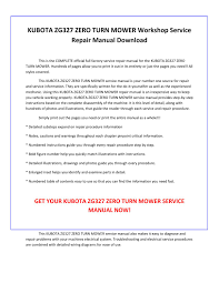 kubota zg327 zero turn mower service repair manual pdf download by