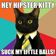 Hipster Kitty Meme - hey hipster kitty suck my little balls cat meme cat planet cat