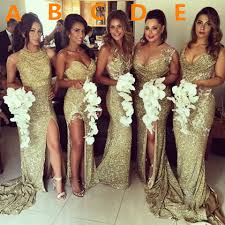 gold sequins 2017 bridesmaid dresses side slit sparkly