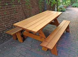 Plans For A Picnic Table With Separate Benches by Wood Picnic Table Kits Redwood Outdoor Picnic Tables