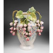 Italian Vase Rare Barbotine Style Mollica Italian Vase With Applied Florals