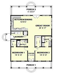 cottage style house plan 2 beds 2 baths 1292 sq ft plan 44 165