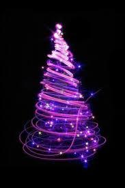 black tree with purple lights lights card