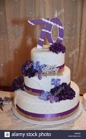 70th birthday cakes fancy three tier 70th birthday cake stock photo royalty free