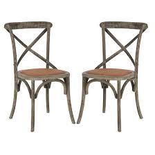 Safavieh Bistro Chairs Franklin Ferrat X Back Dining Chair Wood Walnut Set Of 2