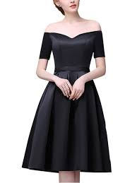 black off the shoulder skater evening dress metisu
