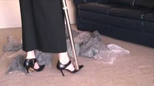 Vaccumming Vacuuming In High Heels Plastic Bags Youtube