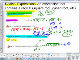Radicals And Rational Exponents Worksheet Answers Algebra 1 Chapter 10 Section 2 Radical Expressions Youtube