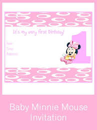 free printable minnie mouse 1st birthday invitations free pink