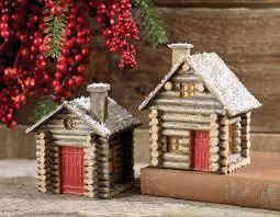 log cabin ornament set of 2