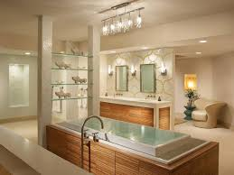 contemporary bathroom lighting with shelf ornament near of wooden