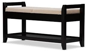 maudie dark brown wooden shoe storage bench taupe fabric cushion