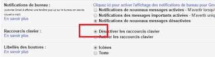 raccourci bureau gmail comment désactiver l envoi du message par le raccourci clavier