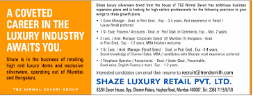 luxury retail sales resume jobs in shaze luxury retails pvt ltd vacancies in shaze luxury