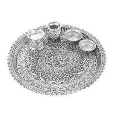 designer silver pooja thali silver kankavati and pooja thali