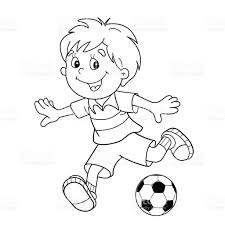 coloring page outline of cartoon boy with a soccer ball stock