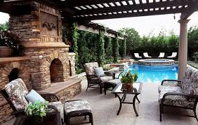 outdoor living spaces with pool and fireplace 3966 home and