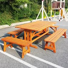 Poly Picnic Tables by Custom Picnic Table With Pedestal And Benches Custom Picnic