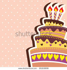 colorful layered happy birthday cake background stock illustration